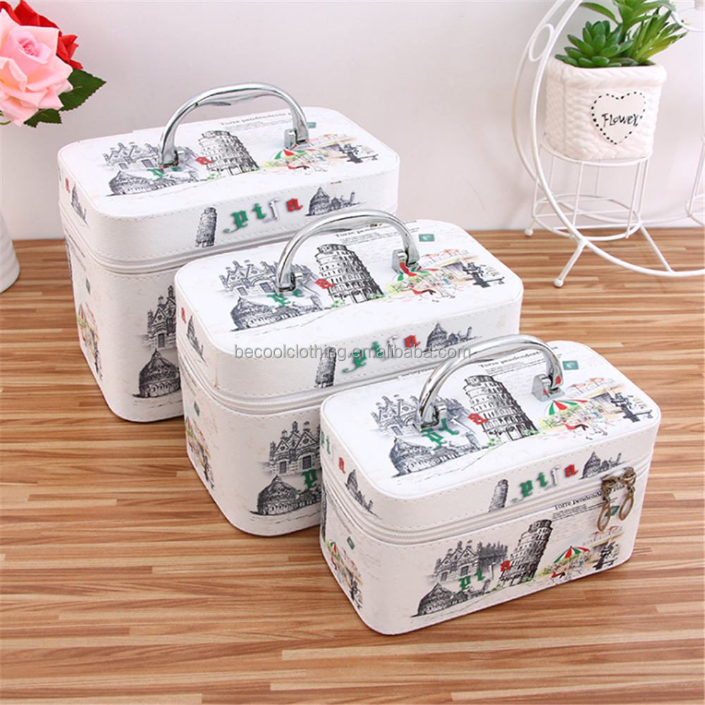 High Quality Fashion Large Capacity Durable Women Square Three-Piece Cosmetic Bags PVC Cosmetic cases and Bags