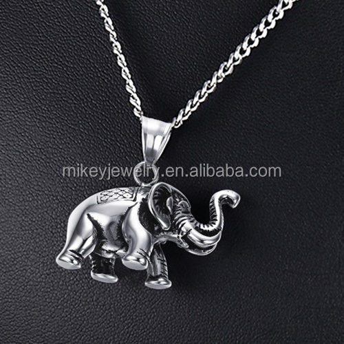 Stainless steel casting elephant pendant necklace