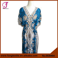 0530404 Long Desgin Cotton Indian Flower Kaftan Modern