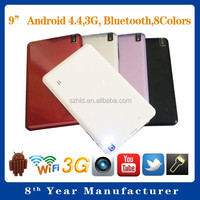 Shenzhen 9 inch tablet pc with multitouch Action 7021 Allwinner A23
