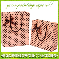 (BLF-PB1280) pink polka dot pattern paper gift bag with ribbon bow tie