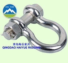 Polished stainless steel bow shackle