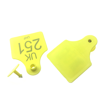 Passive barcode UHF Impinj Monza R6-P rfid animal cow ear tag for animal management