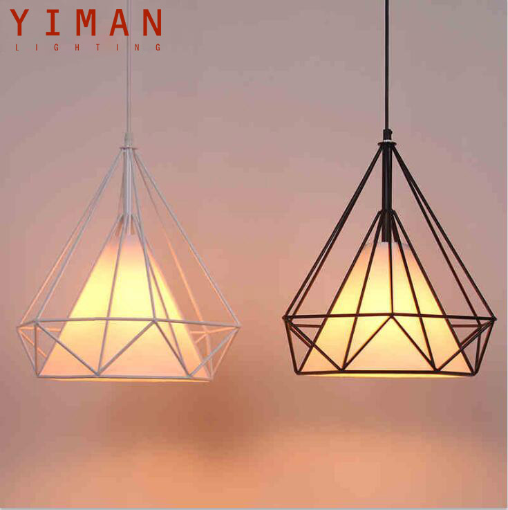 black birdcage pendant lights Scandinavian <strong>modern</strong> minimalist pyramid light iron hanging light with LED bulb