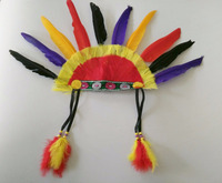Feather Headdress Native American Indian Style Warrior Headdress Colored Feather Headpiece Accessory
