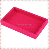 Cheap counter top Velvet jewelry case trays, velvet lined jewelry trays empty flat
