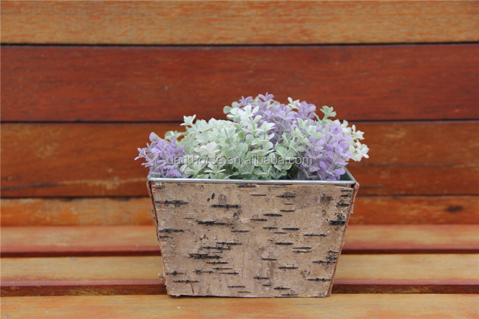 Simple Wooden Design Christmas Decoration Garden Outdoor Metal Bark Flower Pot for 2016 Christmas Square Metal Bark Flower Pot