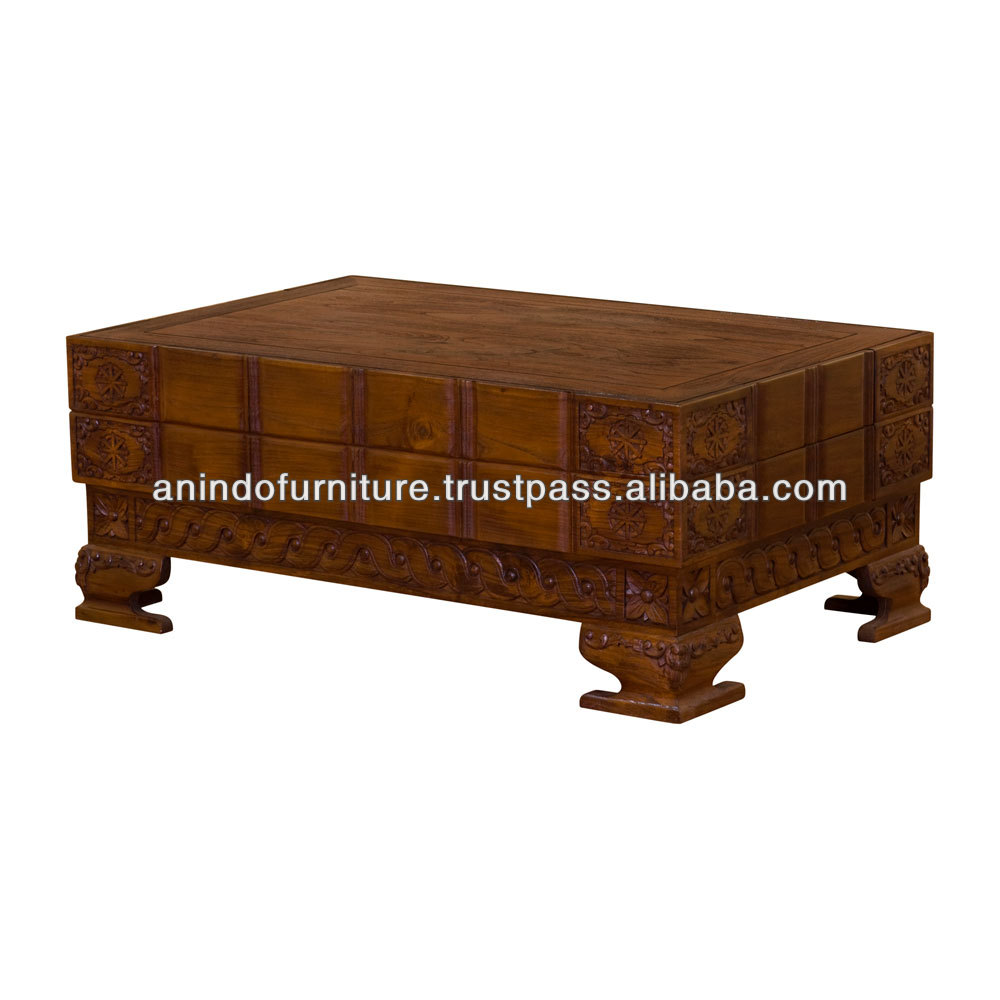 Classic King Airlangga Coffee Table with 4 Drawers