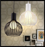 Birdcage pendant light with E27 white / black color dining room lamp lighitng