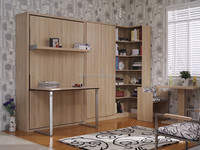 Space saving wall bed desk,modern storage bed,wood folding table
