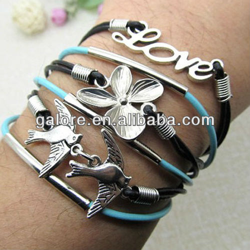 multi strand butterfly and dove hand bands leather bracelet