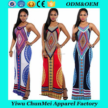 2017 Summer New Fashion Design Sexy Spaghetti Strap African Dress With Ethnic Style