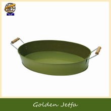 Green Metal Round serving tray with Wooden Handles