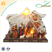 decorative resin led light religious nativity set