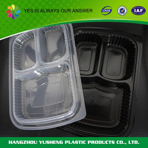 Transparent disposable divided food container,plastic food container with divider
