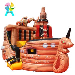 Colorful outdoor inflatable Pirate ship jumping bouncer comprehensive playground for sale