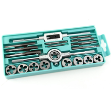 20PCS Tap & Die Kits M3~M12 Straight Flute Hand Tap wrench Die wrench Holder Car Motorcycle Maintenance tools Tap Die Tools sets