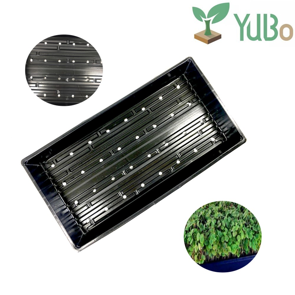 Hydroponic Black Plastic Gardening Nursery Trays WITH drain holes, Plant Seed Growing Trays for Seedling Microgreens