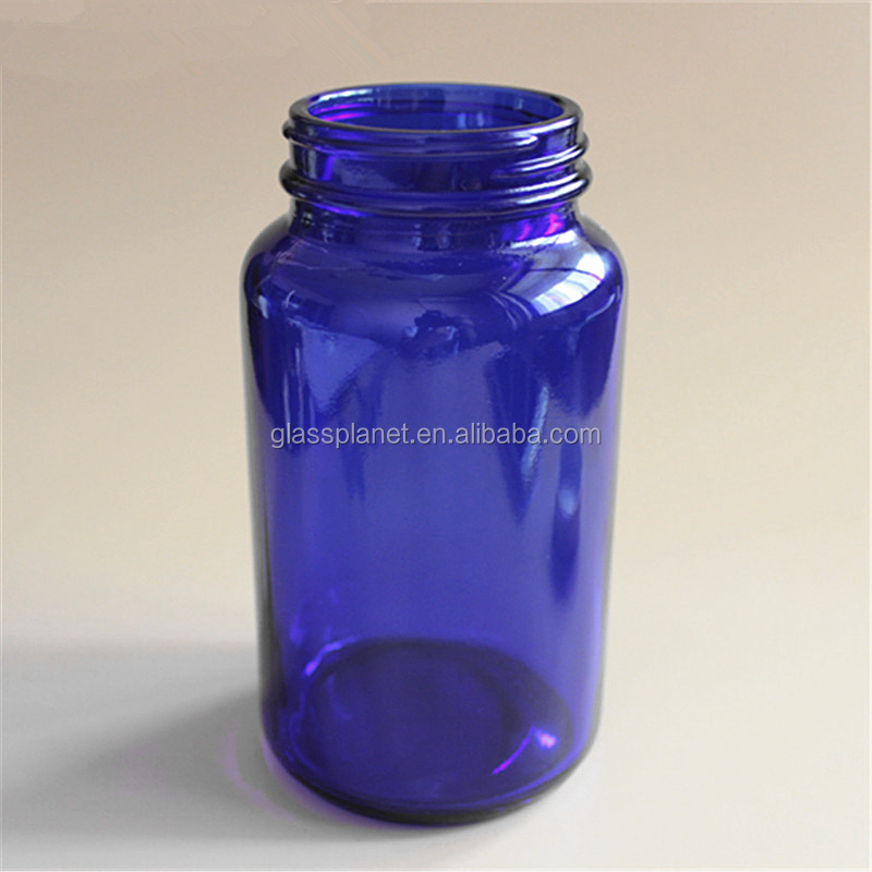 Empty Glass Pill Bottle Cobalt Blue Container Medicine Drug Vitamin Capsule Supplements Cream Cosmetic