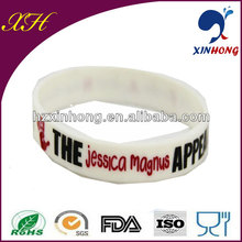 White Customized Wristband Silicone Wristband / Bracelets with aLittle Swirl