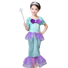 Kids Girl Cosplay Costume,Baby Girl The Little Mermaid Ariel Princess Kids Perform Clothes,Fantasias Vestidos