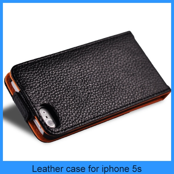 For IPhone 5 Leather Case Upside Down Front Fork Geniune Luxury Leather Magnetic Flip Case Cover Pouch For Apple iPhone 5 5S 5G