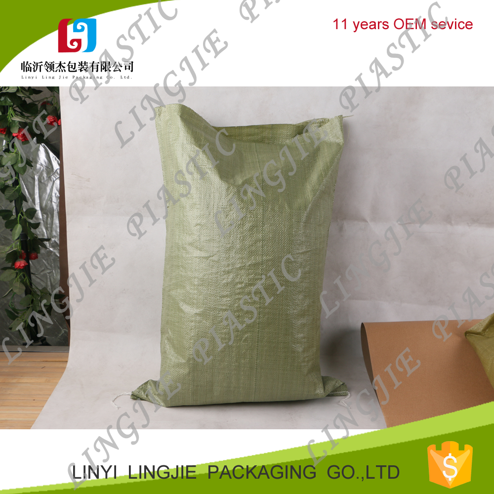 pp polypropylene woven green,grey color packing sand,garbage bag sack for construction waste,brick 25kg,50kg