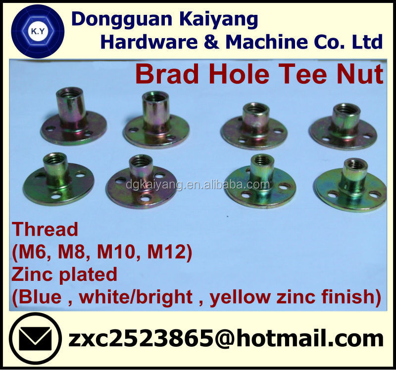 Brad Hole Tee Nut (Furniture Fastener); M6, M8, M10. M12
