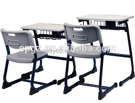 2015Study desk and chair set, cheap school desks wood and plastic chair student