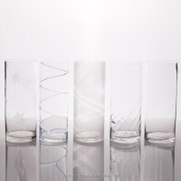 "6"" Cheap Decal Cylinder Mini Glass Flower Vase Home Decor"