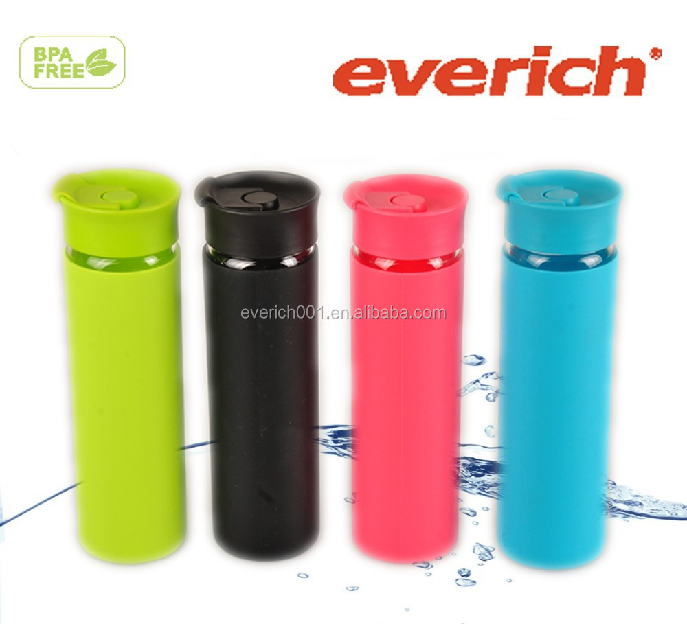 550ML Promotional best sale environmental friendly lead free glass water bottles with silicone sleeve
