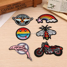 Custom Fashion Patch Bike Embroidered Patch Iron On Pocket For Clothes