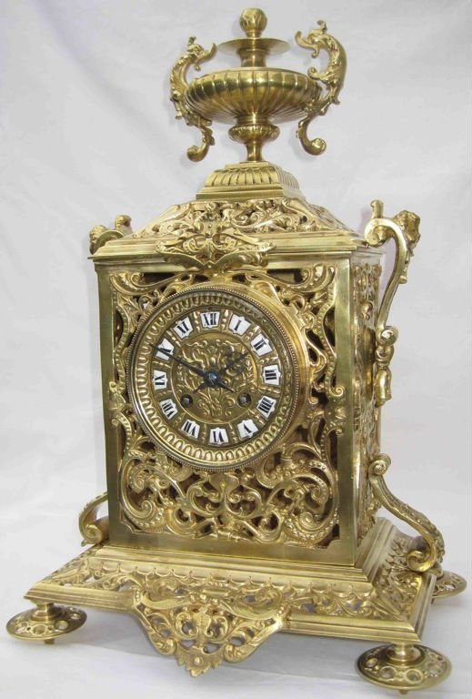 Antique French French bronze table clock of Napoleon III. period