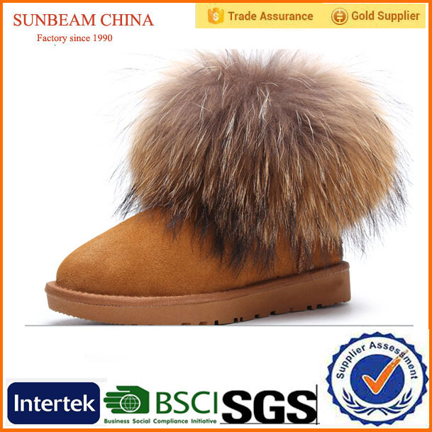 Cheap and simple high quality keep warm fur suede women winter snow boots