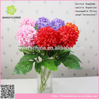 wholesale silk flower hydrangea with 3 flowers heads for wedding decoration