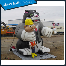 Customized giant inflatable fat cat inflatable cat model with worker
