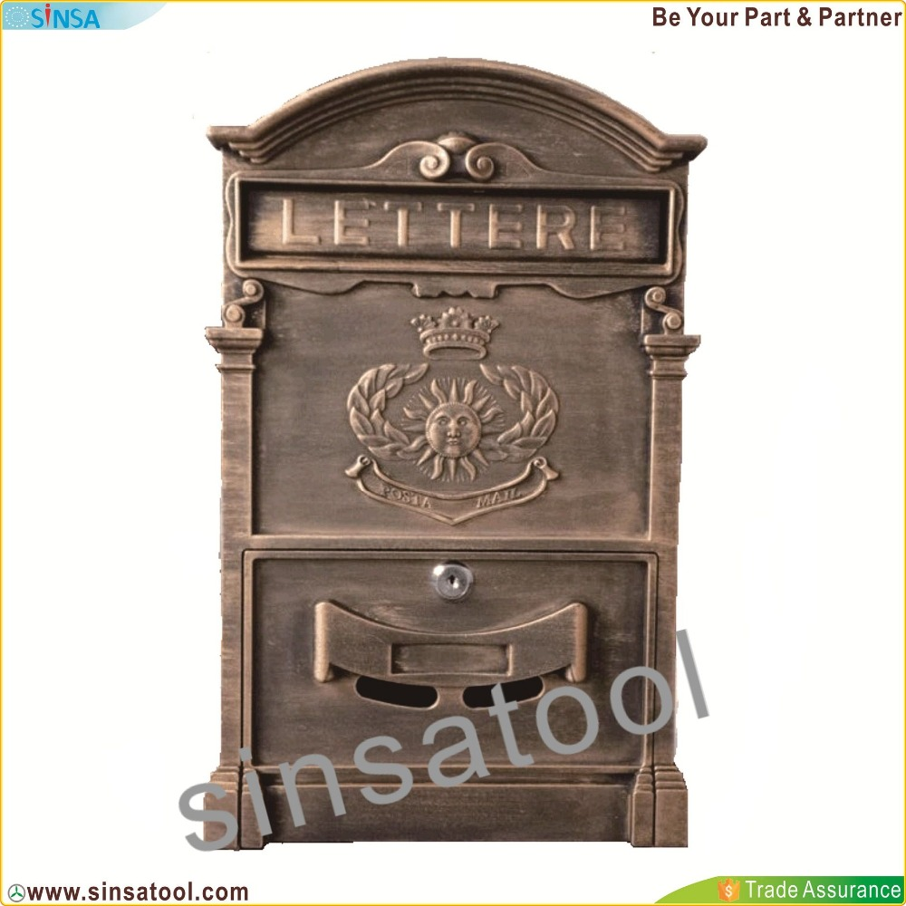 European Style Outdoor Lockable Secure Mail Postbox(Gold)