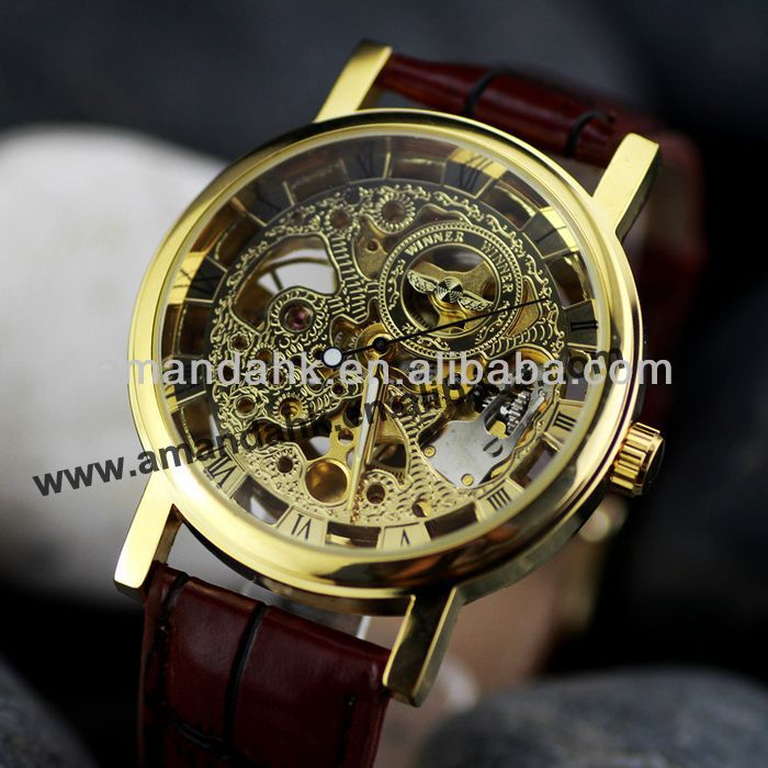 Charming Automatic Mechanical Genuine Leather Watch Roman Digital Design Men Brand Wrist Watches