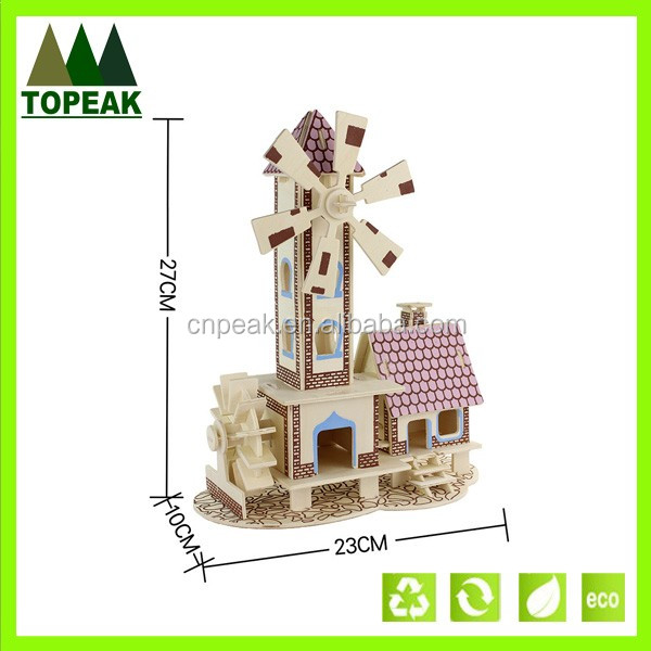 DIY brain teasers wooden house model toys big size 3D puzzle