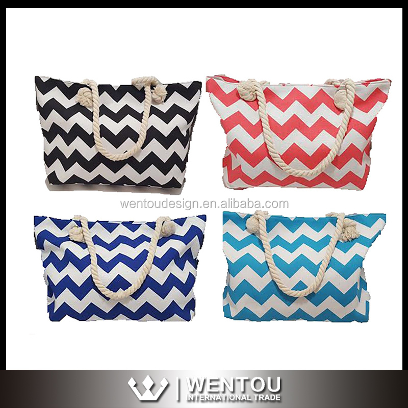 Wholesale Fashion Chevron Canvas Beach Tote Bag