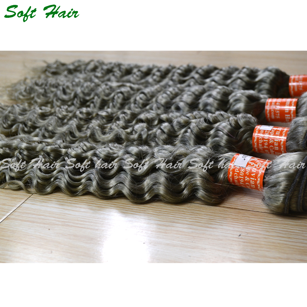 8A Cheap High Quality Unprocessed Brazilian Virgin Human Remy <strong>Hair</strong> deep wave grey human <strong>hair</strong> weaving for braiding