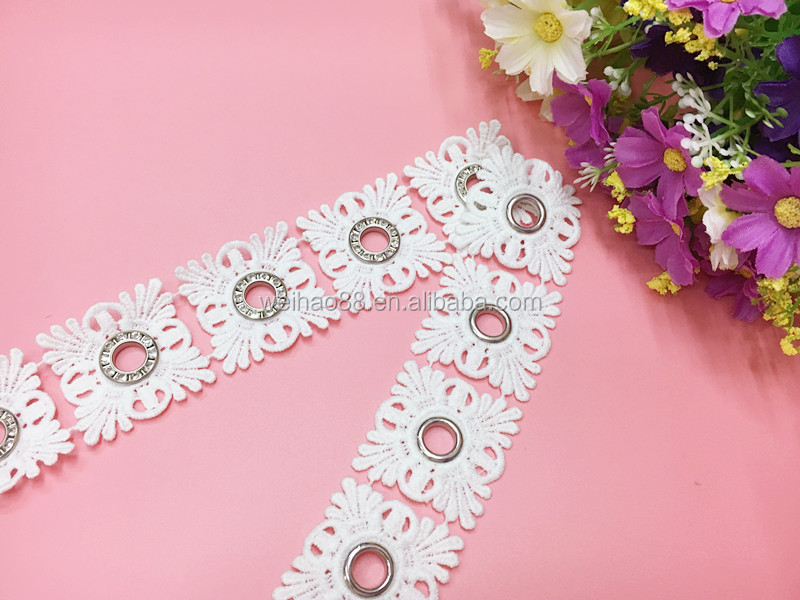 Fashion polyester/fiber lace trim with eyelets and rhinestones for garment