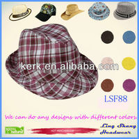 Fashion Purple Checked Wholesale Cotton/Polyester wholesale panama Fedora Hat,LSF88