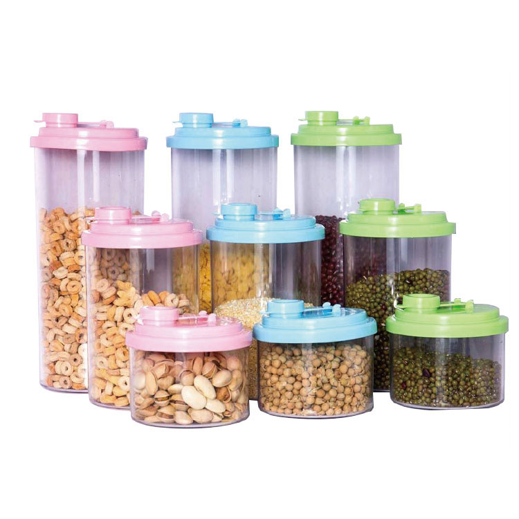 Low Price Wholesale Transparent Body with PP Plastic Lid Easy Open Kitchen Seal Food Storage Jar
