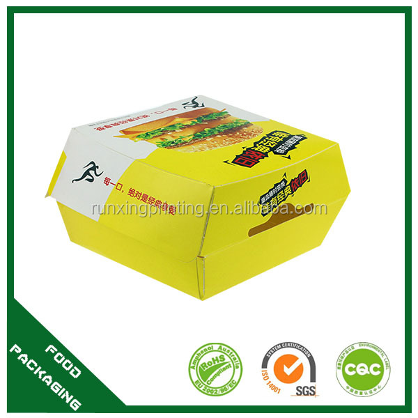 eco-friendly biodegradable paper burger packaging, burger container, packing burger