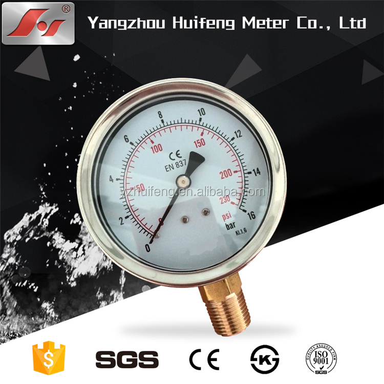 "High quality stainless steel 4"" 100mm 16bar oil filled pressure gauge"