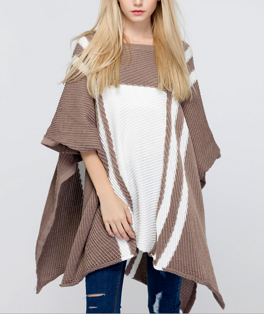 B31398A Handmade Wholesale Knit Poncho Women Pure Cashmere Cape Sweater
