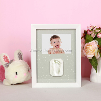 Photo Frame New Baby Footprint Foot or Hand Print Cast Set Kit Christening Gift