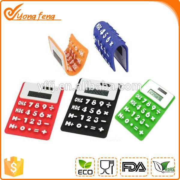 Foldable solar power silicone portable calculator with custom logo printed