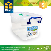 PP plastic attached-lid storage container w/handle and lock